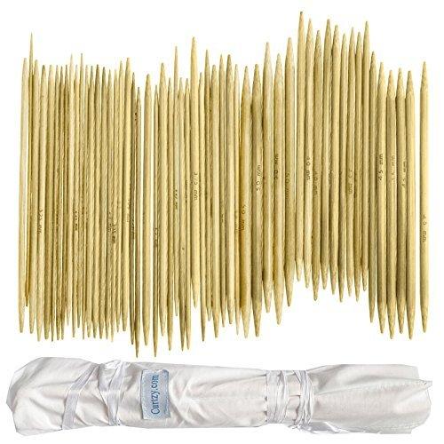 Doppelend Stricknadeln Set, Stricknadeln aus Bambus für Anfänger und Profis, 80 Stücke (16 Größen X 5 Einheiten), 2mm-12mm, 25 cm Länge, mit einwickelbarer Canvas-Aufbewahrungstasche (Liege-set Fünf Stück)