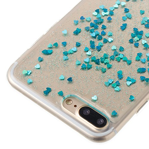iPhone 8 Plus Case Silicone,iPhone 7 Plus Coque Paillette,iPhone 8 Plus Housse Noir Ultra Fine Silicone Souple Flexible TPU avec Sterne Bling Glitter Paillette Housse Etui de Protection Premium Anti C Amour Bleu