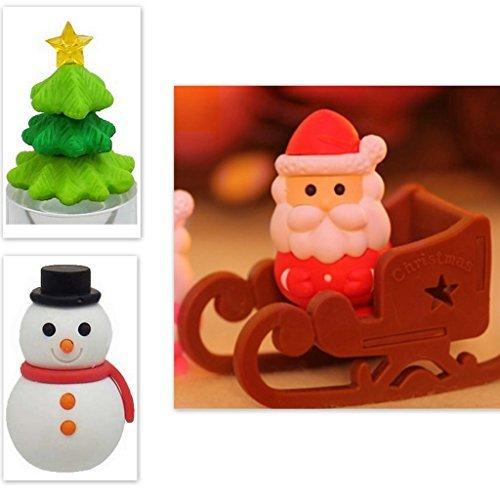 Iwako 4 Stück Weihnachtsbaum Schneemann-Weihnachtsmann-Pferdeschlitten-japanische Radiergummi aus...