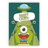 Mega coole Geburtstagskarte mit außerirdischem Monster und Ufo: Allllllles Gute! • auch zum direkt Versenden mit ihrem persönlichen Text als Einleger.