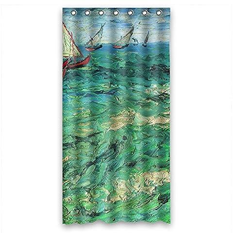 Die Kunst Gemälde Vincent Willem van Gogh Sailing Boats Weihnachten Dusche Vorhänge Polyester Breite x Höhe/91,4x 182,9cm/W H 90von 180cm Dekoration Geschenk für Jungen Mädchen Artwork HO