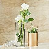 PuTwo Blumenvase Metall und Glas Skandinavische Vase Transparente Wandvase Schwarz