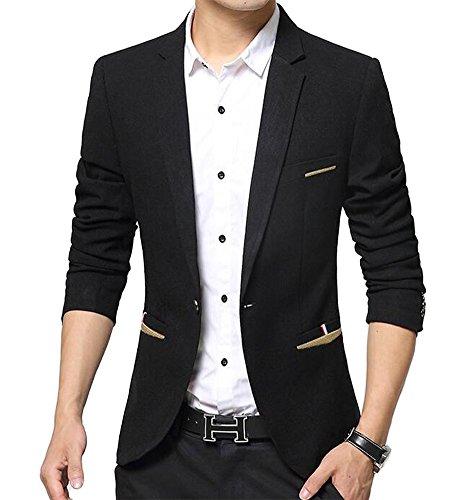 Benibos Herren Premium Ein Knopf Slim Fit Blazer Anzugjacke (L, Schwarz)