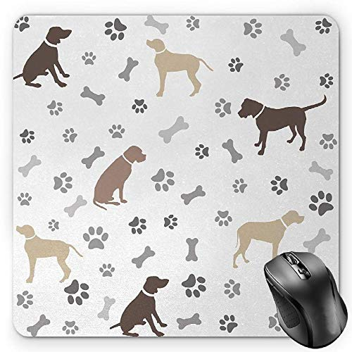 Foxhound Silhouette (BGLKCS Dog Lover Mauspads,Paw Print Bones and Dog Silhouettes American Foxhound Breed Playful Pattern,Standard Size Rectangle Non-Slip Rubber Mousepad,Umber Beige Grey)