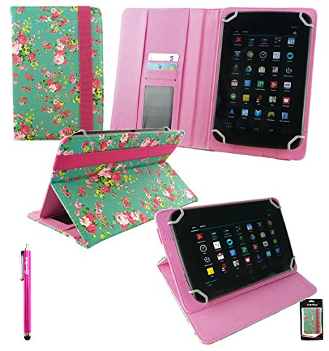 Emartbuy® Dragon Touch E70 / E71 7 Inch Phablet Tablet PC Universal Range Green Rose Garden PU Leather Multi Angle Executive Folio Wallet Case Cover With Card Slots + Hot Pink Stylus