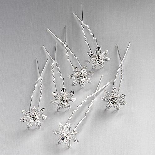 Six pièces couleur argent et épingle à cheveux en cristal fleur. Taille 15 mm