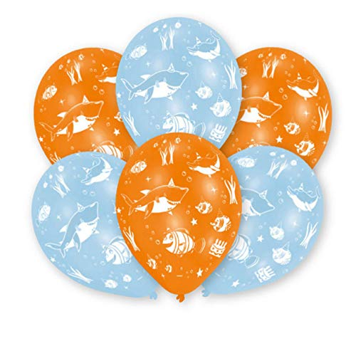 amscan 9901073 6 Latexballons Meerestiere, Orange/Blau