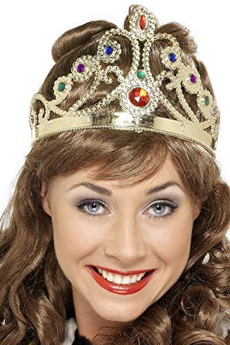Smiffys Damen Juwelen Königinnen Krone, One Size, Gemischt, Gold mit bunten Steinen, (Stein Kostüm)