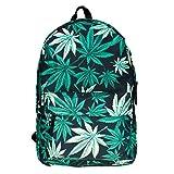 Retro Tasche Schultasche Canvas Schulrucksack Vintage Bag Backpack Black Weed [005]