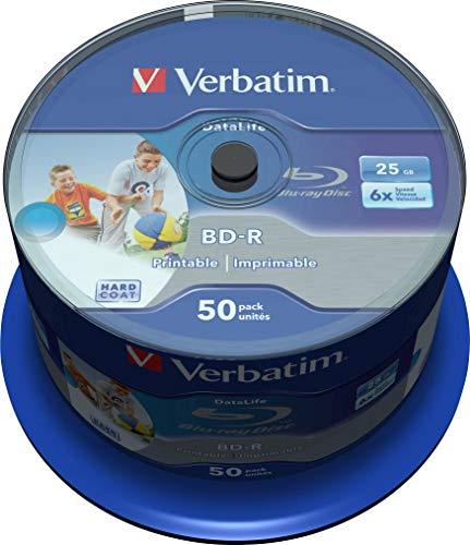 Verbatim 43812 25 GB 6 x BD-R SL Datalife bedruckbar - 50 Packung Spindel