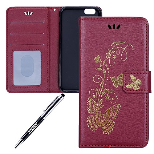 JAWSEU Coque pour iPhone 5C,iPhone 5C Portefeuille Coque en Cuir,iPhone 5C Cover Flip Wallet Case Ultra Slim,2017 Neuf Femme Homme Luxury Retro Gold/Oro Butterfly Papillon Motif Leather Pu Folio Etui  Wine Red/Gold Butterfly