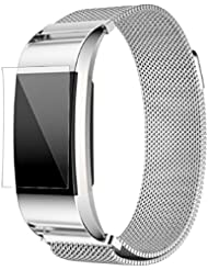 Fitbit Charge 2 Armband, OverDose Milanese Edelstahl Uhrenarmband-Bügel-Armband + HD Film für Fitbit Charge 2