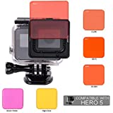 Koroao Underwater Red Diving Lens Filter For Gopro Hero 5 Camera Used With Original Gopro Waterproof Housing Only