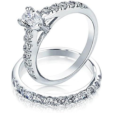 Bling Jewelry A forma di pera CZ Sterling Silver fidanzamento Wedding Ring