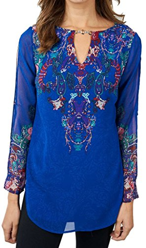 Joseph Ribkoff Blue Paisley Top with Metal & Crystal Accents Style 171632