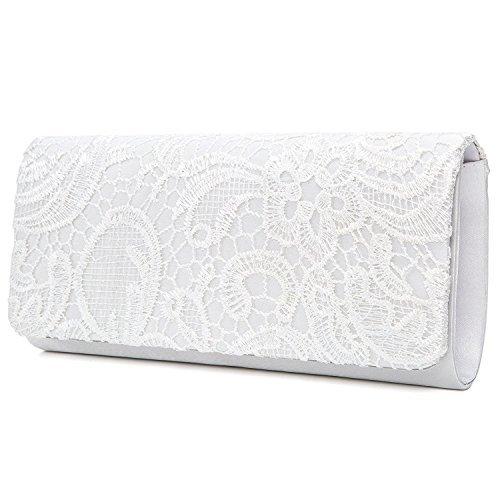 EULovelyPrice Damen Elegant Spitze Abendtasche Party Clutches Taschen Braut Hochzeit Handtaschen Damen (Weiß) - Hochzeit Clutch