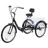 Paneltech 24 ' 6 Vitesses Gears 3 Roue Tricycle Adulte Vélo pour Adultes Confort Vélo Sports de plein air Ville Panier de vélo...