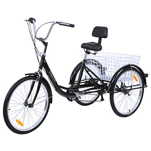 "Paneltech 24"" 6 Geschwindigkeiten Zahnräder 3 Rad Fahrrad für Erwachsene Adult Tricycle Comfort Fahrrad Outdoor Sports City Urban Fahrradkorb inklusive (Schwarz)"