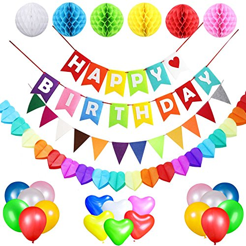 Acetek Birthday Party Supplies Favours Decorations Happy Banner Flags 6 Colorful Tissue