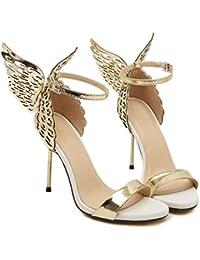 Dragon868 Donna Scarpe Donna Eleganti Fascia Tacchi Alto 10cm Scarpe Donna  Alte Pelle Ali Tacco Basso fe2aab3e41e