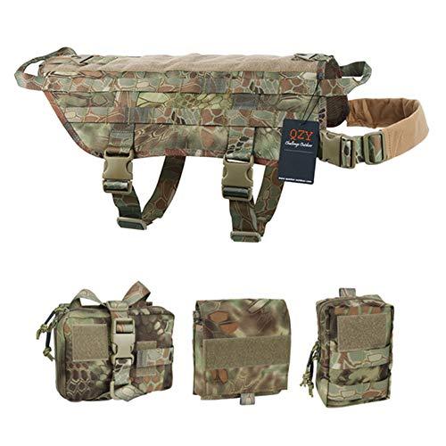QZY K9 Chalecos Tácticos para Entrenamiento de Arneses para Perros, Traje de Pecho Protector Canino Militar 1010 D con Manijas de Control de Confort (Tamaño 8 Color 5),AMA,XS