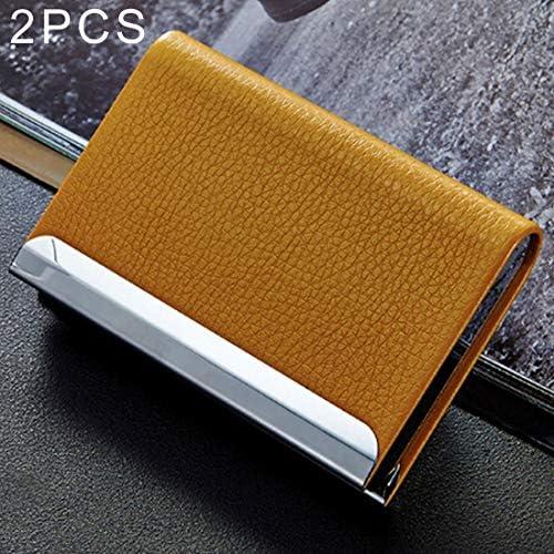 Lanbinxiang@ Lanbinxiang@ Lanbinxiang@ Porte-cartes de visite en cuir PU avec texture en acier inoxydable, pince pour boîte de cartes de crédit portefeuille, taille: 9,5  6,5  1,5 cm (Couleur : Jaune) B07MR1HKVG   Le Prix De Marché  9934f4