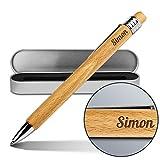 Kugelschreiber mit Namen Simon - Gravierter Holz-Kugelschreiber inkl. Metall-Geschenkdose