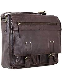 STILORD 'Leonard' Vintage Umhängetasche Leder groß Herren und Damen Schultertasche für 13.3 Zoll MacBook ideal für Uni Arbeit echtes Büffelleder dunkel-braun