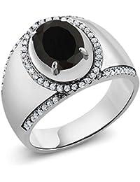 Para hombre 12 * 8 mm Oval Negro Onyx redondo corte Simulado diamante aniversario de bodas