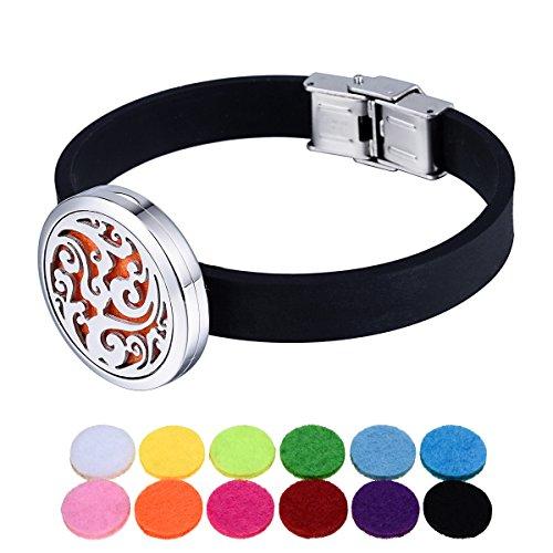 Blanc K Diffuseur creux en acier inoxydable nuages aromatiques bracelet en silicone noir 20.5cm-1
