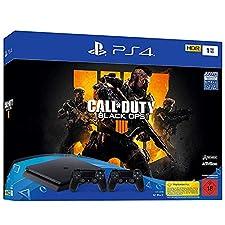PlayStation 4 - Konsole (1TB, schwarz, slim) inkl. Call of Duty: Black Ops 4 + 2 DualShock Controller