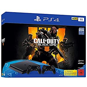 PlayStation 4 – Konsole (1TB, schwarz, slim) inkl. Call of Duty: Black Ops 4 + 2 DualShock Controller