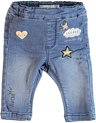 NAME IT Baby Mädchen Jeanshose Jeggings Nitarona Sweat Denim mit Patches, Größe:68, Farbe:Light Blue Denim