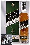 Johnnie Walker Green Label 15 Jahre Blend Malt Whisky mit 6 Original Kühlsteinen von Rosenstein & Söhne, kostenloser Versand