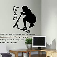 EXTRA LARGE PERSONALISED STUNT TRICK SCOOTER WALL STICKER TRANSFER, 940mm(h)x800mm(w)XLarge, Black