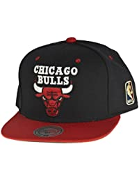 Mitchell & Ness Chicago Bulls Snapback Casquette Homme Noir Rouge