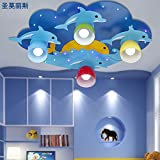 JJ LED moderno mundo marino lámpara de techo lámpara de techo niños luces luces luces de dibujos animados para niños y niñas de delfines L70*W45*H16cm ,220v-240v