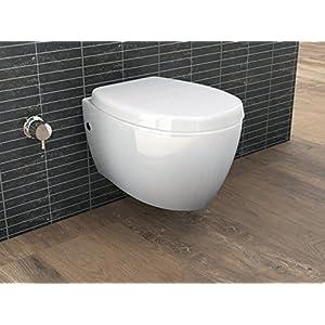 Aqua Bagno - WC sospeso con doccetta, funzione bidet/taharat, con sedile con funzione soft close
