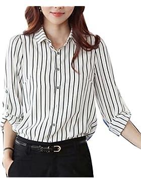 Blusas De Gasa Elegantes Para Mujer Camisas De Fiesta Blusa De Rayas Camiseta Camisa Top blanco M