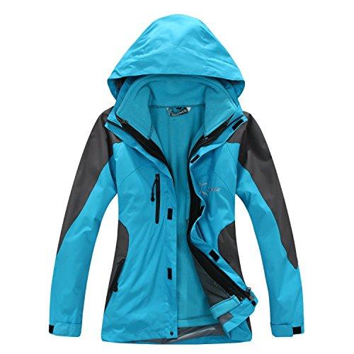 SYRINX Damen 3 in 1 Winddicht Wasserdicht Atmungsaktiv Hardshelljacke mit Fleecejacke Camping Wandern Outdoor Jacke (Large, Blau)