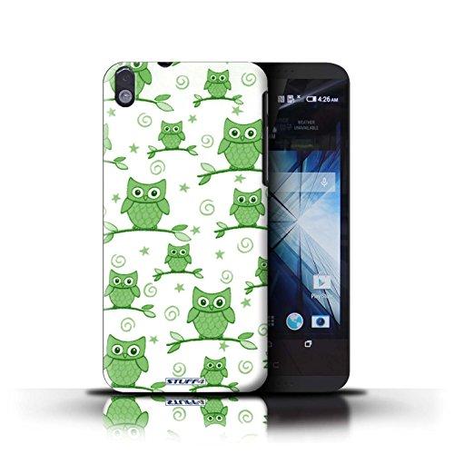 Kobalt® Imprimé Etui / Coque pour HTC Desire 816 / Rouge/Jaune conception / Série Motif Hibou Vert/Blanc