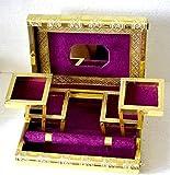 Große Indian Style Golden geprägt Metall Sperren lila Schmuck Box–BNIB