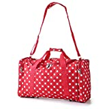 5 Cities® World's lightest (only 0.5kg!) Cabin Size holdall -fits Ryan Air/Easy Jet 55 x 40 x x 20 -flight bag. Actual dimension 54x30x20, Massive 32l Capacity (Red Polka Dot)