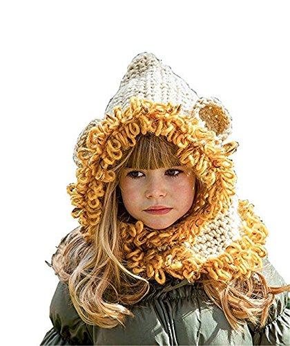 Wanglele Die Geschichte Der Kinder Warme Kante Lion Hand Hut Kinder Warm Neck Cap, Gelb, Alle (Ohren Lion Stirnband)
