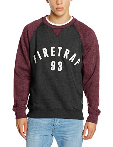 Firetrap Herren Sweatshirt Mens Crew Sweat Rumsey Burn O Grau - Grau (Dark Shadow)