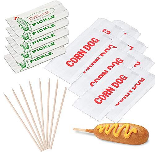 Pickle Dogs Picknick-Party Pickle Deli Wrappers Outdoor BBQ Fun 50 Stück Maishunde-Papiere + Holzdübel Hotdog/Corndog Halter bedruckte Taschen Bündel - Wrap-halter Papier