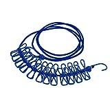 bismarckbeer winddicht tragbar Reise waschen Kleidung Wäscheservice Seil Trocknen Line mit 12Clips, blau, Einheitsgröße