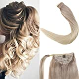 LaaVoo 16'/40cm Easy Fit Extensiones Coleta Pelo Natural Rubio Ceniza #18 Balayage Ombre Rubia Platino #60 Wrap Ponytail Extension 80GR