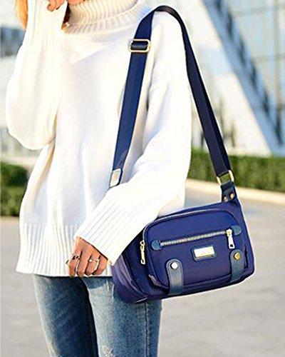 Damen Schultertaschen Umhängetasche Messenger bag Handtaschen Nylon Schwarz Blau
