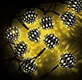 Solar Lichterkette Hohl Marokkanische Kugel Weihnachtslaterne LED Eisenkugel Romantische Raumdekoration 40 Licht C